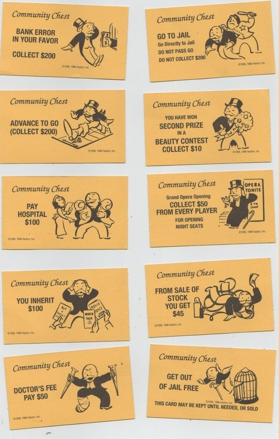 Monopoly Community Chest Cards (10)