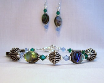 Mothers Bracelet and Earring Set Custom Made with Abalone or Paua shell & Crystal Birthstones