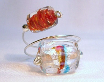 Adjustable Sterling Silver & Mirano Glass Ring