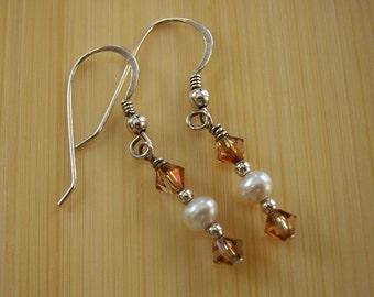 Pearl and Topaz Earrings