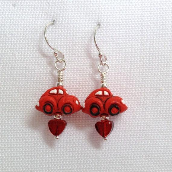 Red Volkswagen Beetle Earrings