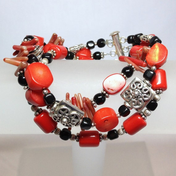 Red Coral, Black Onyx and Chunky Silver Three Strand Bracelet