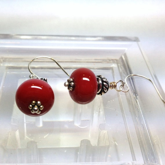 Red Art Glass Sterling Silver Earrings