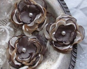Fabric  Flower Chocolate Brown and Beige Set of 3   by My Broken Art on Etsy