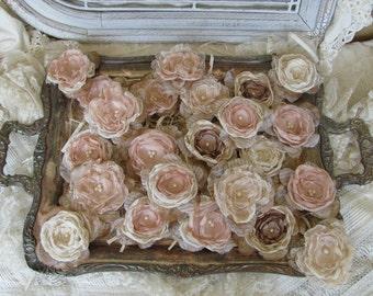 Fabric flowers, Wedding Flowers, DIY Wedding, Bridal Flowers, Wedding Decorations, Champange - Ivory Flowers 24 flowers