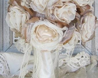 Rustic Bridal Bouquet, Wedding Bouquet, Vintage Bouquet, Bridal bouquet, Wedding flowers,  Alternative Fabric Flower, Vintage bouquet