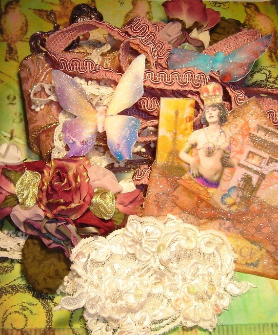 ALTERED ART- SCRAP BOOKING SUPPLY OR INSPIRATION KIT- VINTAGE LACES, TRIMS AND GOODIES