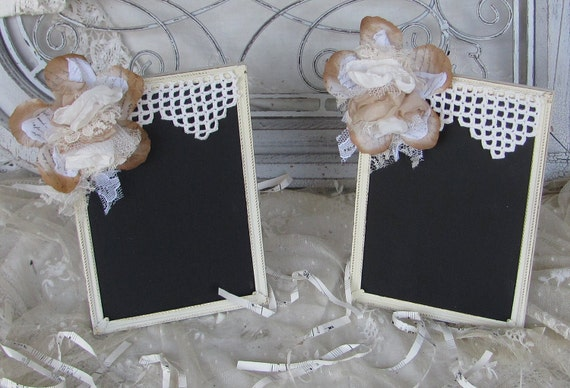 Chalk Board Frame Rustic Shabby Ivory and Latte set of 2