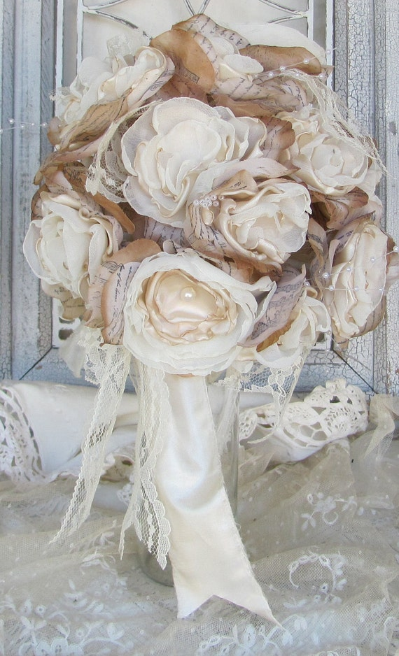 Rustic Bridal Bouquet, Wedding Bouquet, Vintage Bouquet, Bridal bouquet, Wedding flowers,  Alternative Fabric Flower, Vintage bouquet