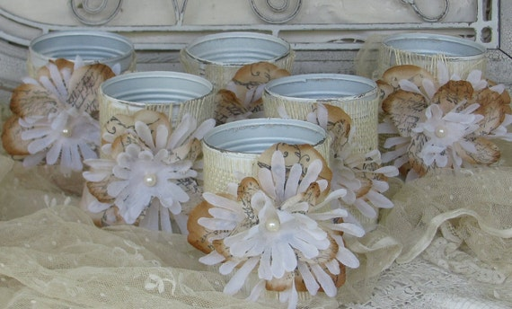 Rustic Wedding Chic Flower Vase Tin Can Wrapped in Burlap Set of 6