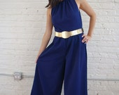 "Vintage"" Mar Tee"" Navy Pique Sleeveless One Piece Pant Suit"