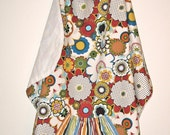 Colorful Floral Cloak with Striped Pocket