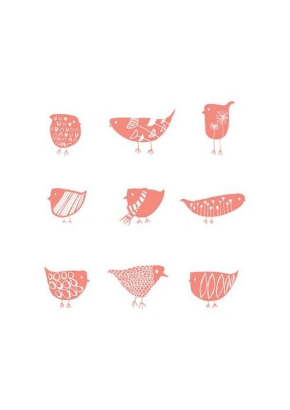 Birds Sweet Pink, Giclee Art Print