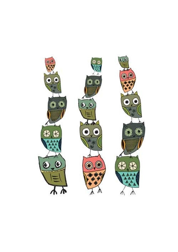 Owl Stack Giclee Art Print by printspace on Etsy