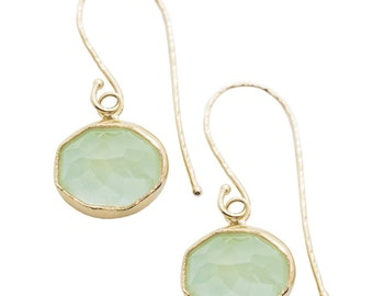 PREHNITE NENA Earrings, handmade with recycled gold, green earrings