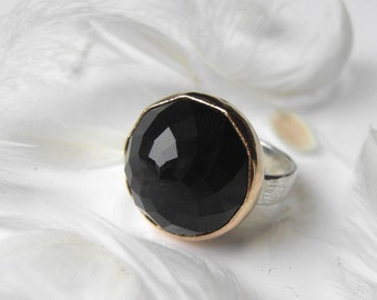 Dahlia faceted Onyx Rebecca Ring in Recycled silver and gold