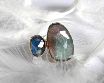 14k Gold Labradorite and Sapphire Ring, One of A Kind handmade gemstone ring