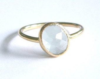 Aquamarine stacking ring with Recycled 14k gold - CUSTOMIZABLE
