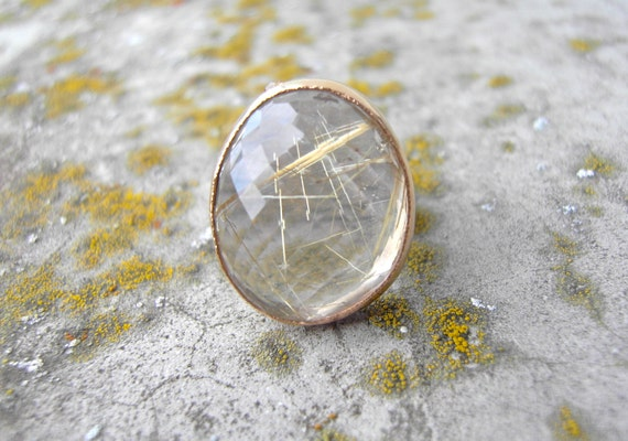Freeform Rutilated Quartz Cocktail Ring Handcrafted from Recycled 14k Gold and Sterling Silver