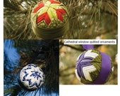 Traditional, Cathedral Window, and Picture Window Quilted Fabric Ball Ornaments Pattern and Tutorial (3 tutorials)