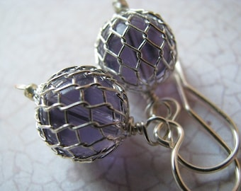 Purple Earrings, Violet Lavender Earrings, Lavender Fish Net Earrings, Fish Float Earrings