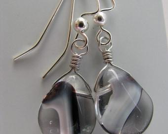 Black and White Earrings, Black White Briolettes Teardrop Earrings, Black White Swirl