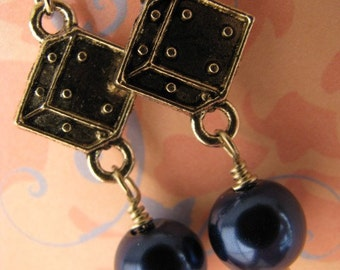 Lucky Midnight Blue Pearl Earrings,Dice Dark Blue Pearl and Silver Earrings, Gambling Fever