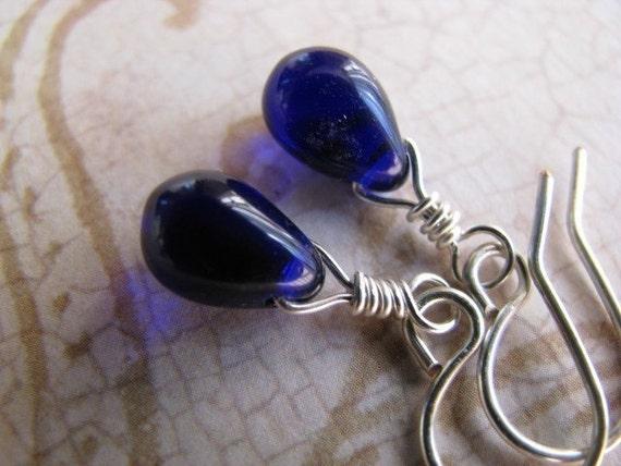 Cobalt Blue Teardrop and Silver Earrings