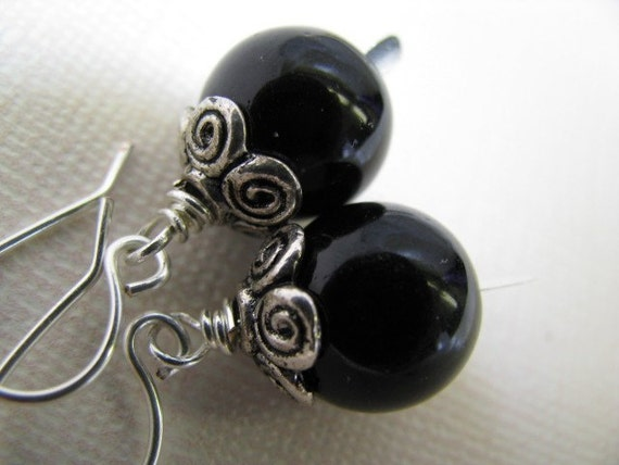 Jet Black Glass and Silver Earrings