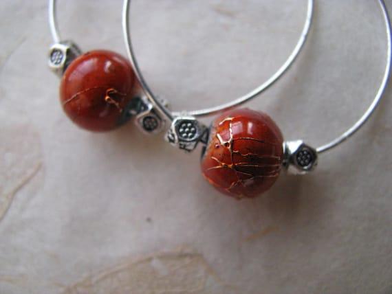 Burnt Orange and Silver Hoop Earrings