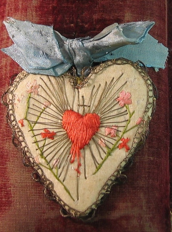 Items Similar To Old French Silk Embroidered Sacred Heart Detente On Etsy