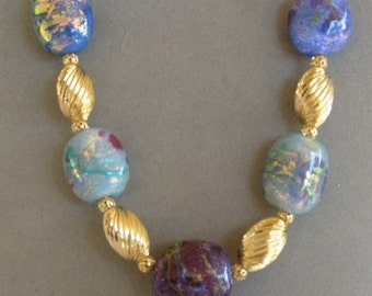 Handmade Dichroic Lampwork Bead Necklace