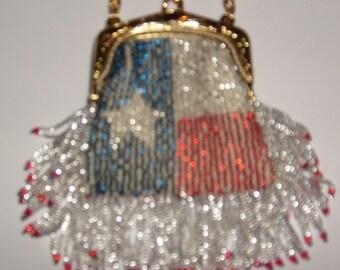 Texas Flag Bag Beaded Purse No. 24