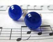 Navy Fused Glass Studs