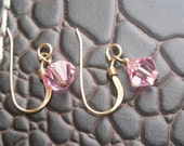 Light Rose Pink Austrian Crystal Earrings, Gold Filled Earwires 6 mm