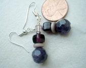 Purple Amethyst and Purple Glass Earrings