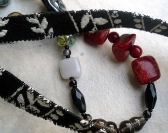 Black Fabric Necklace with Coral and Resin Wood Pendant