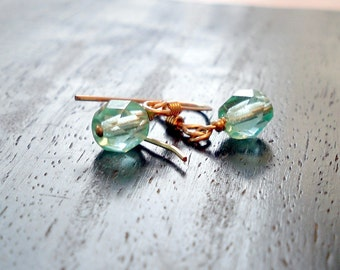 Round Aqua Crystal on Gold Filled Earwires