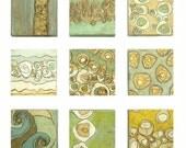 Modern Grid Installation Group of Nine 10x10x3 Organelles Paintings - Acrylic on Deep Edge Canvas