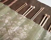 Straight Knitting Needle Case in Pale Green Linen