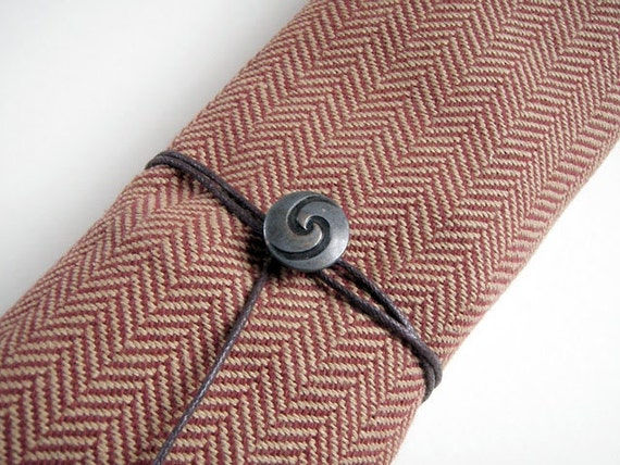 Straight Knitting Needle Case - Luxury Herringbone Tweed with Silk Lining, Gift for Knitter