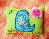 Twooeeet Bluebird Original Wool Embroidery Pillow Made to Order Only