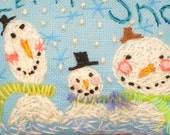 Snowman Trio Hand Embroidered LARGE Pillow Made To Order