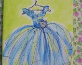 Flower Girl Princess or Prom Dress Original Painting Made To Order Any Color