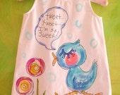 Tweet Tweet So Sweet Hand Painted Girls Dress Custom Made Size 2 to 8 YelliKelli