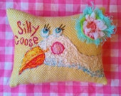 Silly Goose Darling Embroidered Nursery Pillow Custom Made
