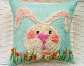 Little White Bunny Mini Hand Embroidered Pillow Made To Order