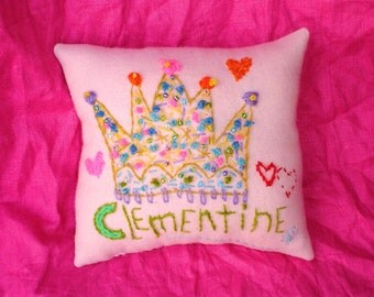 Original Wool Hand Embroidered Pillow  Custom Crown With Name Made To Order