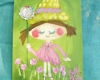 Big Blossom Girl In Hat Retro Style Original Painting Made To Order