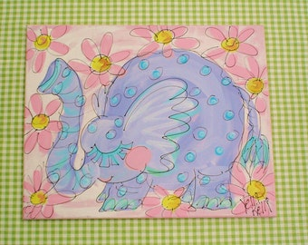 Summer Special  Fluffy Little Elephant Original Painting
